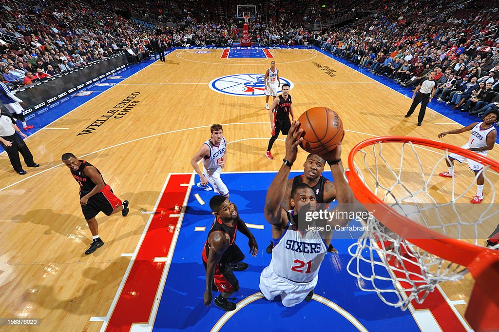 <a gi-track='captionPersonalityLinkClicked' href=/galleries/search?phrase=Thaddeus+Young&family=editorial&specificpeople=3847270 ng-click='$event.stopPropagation()'>Thaddeus Young</a> #21 of the Philadelphia 76ers drives to the basket against the Toronto Raptors at the Wells Fargo Center on November 20, 2012 in Philadelphia, Pennsylvania.