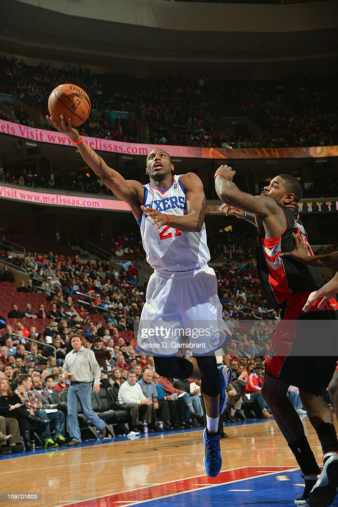 Thaddeus Young #21 of the Philadelphia 76ers drives to the basket against the Toronto Raptors during the game at the Wells Fargo Center on January 18, 2013 in Philadelphia, Pennsylvania.