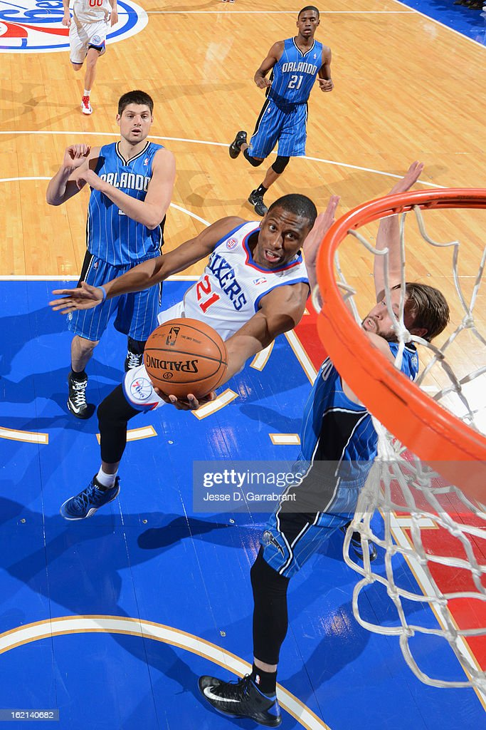 <a gi-track='captionPersonalityLinkClicked' href=/galleries/search?phrase=Thaddeus+Young&family=editorial&specificpeople=3847270 ng-click='$event.stopPropagation()'>Thaddeus Young</a> #21 of the Philadelphia 76ers drives to the basket against the Orlando Magic at the Wells Fargo Center on February 4, 2013 in Philadelphia, Pennsylvania.