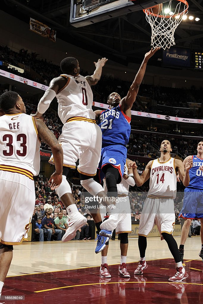 <a gi-track='captionPersonalityLinkClicked' href=/galleries/search?phrase=Thaddeus+Young&family=editorial&specificpeople=3847270 ng-click='$event.stopPropagation()'>Thaddeus Young</a> #21 of the Philadelphia 76ers drives to the basket against the Cleveland Cavaliers at The Quicken Loans Arena on March 29, 2013 in Cleveland, Ohio.