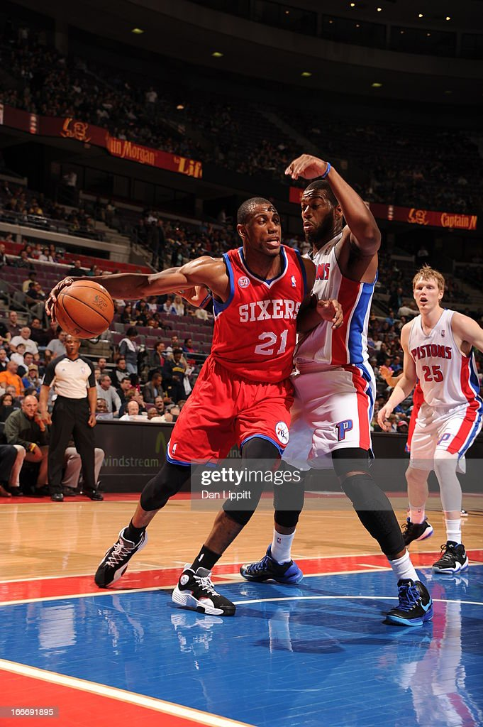 Thaddeus Young #21 of the Philadelphia 76ers drives under pressure during the game between the Detroit Pistons and the Philadelphia 76ers on April 15, 2013 at The Palace of Auburn Hills in Auburn Hills, Michigan.