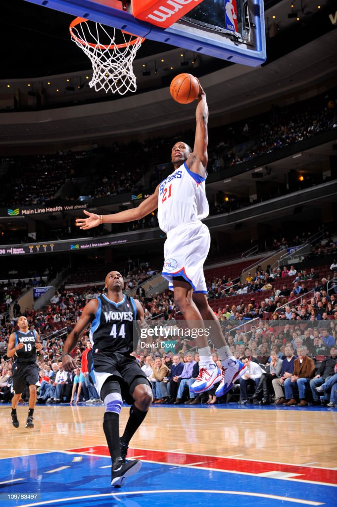 <a gi-track='captionPersonalityLinkClicked' href=/galleries/search?phrase=Thaddeus+Young&family=editorial&specificpeople=3847270 ng-click='$event.stopPropagation()'>Thaddeus Young</a> #21 of the Philadelphia 76ers dunks against the Minnesota Timberwolves on March 4, 2011 at the Wells Fargo Center in Philadelphia, Pennsylvania.