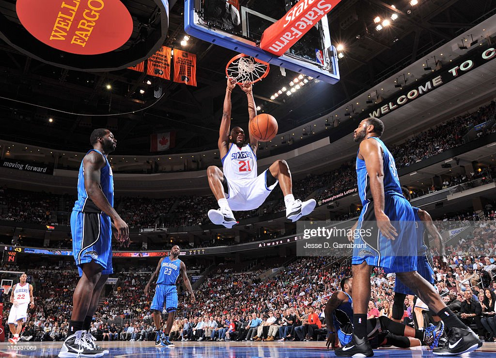 <a gi-track='captionPersonalityLinkClicked' href=/galleries/search?phrase=Thaddeus+Young&family=editorial&specificpeople=3847270 ng-click='$event.stopPropagation()'>Thaddeus Young</a> #21 of the Philadelphia 76ers dunks against the Orlando Magic on April 11, 2011 at the Wells Fargo Center in Philadelphia, Pennsylvania.
