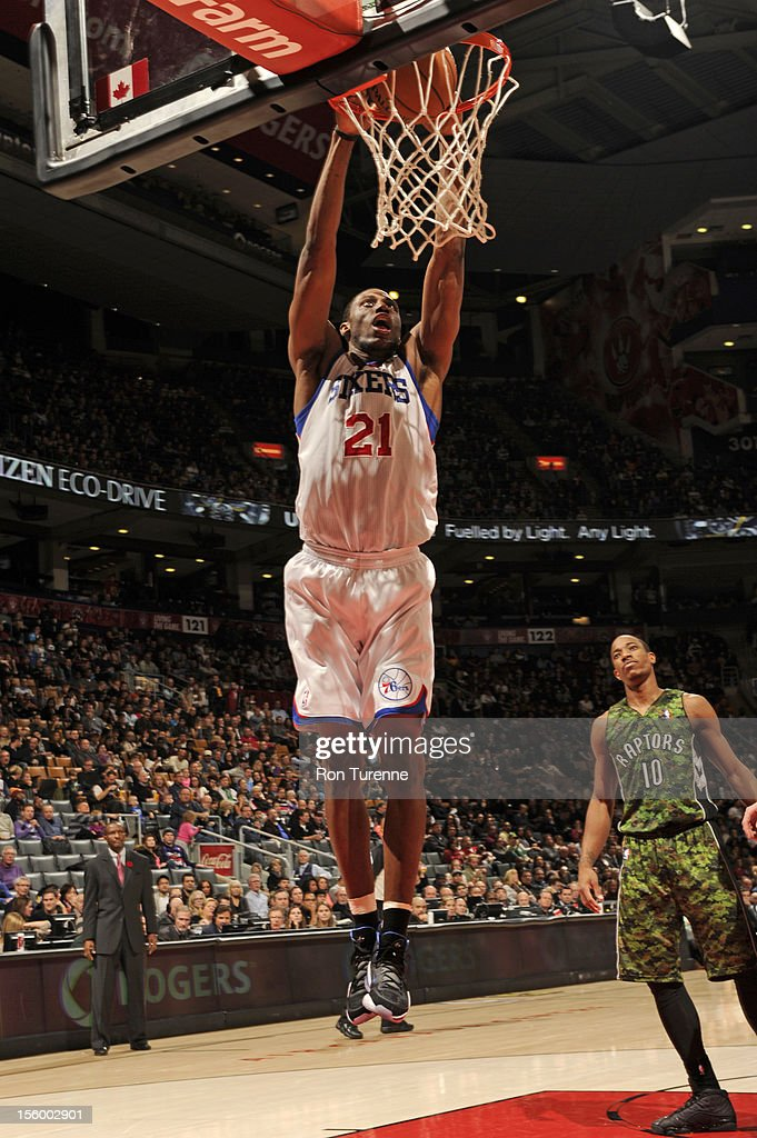 <a gi-track='captionPersonalityLinkClicked' href=/galleries/search?phrase=Thaddeus+Young&family=editorial&specificpeople=3847270 ng-click='$event.stopPropagation()'>Thaddeus Young</a> #21 of the Philadelphia 76ers dunks the ball against the Toronto Raptors during the game on November 10, 2012 at the Air Canada Centre in Toronto, Ontario, Canada.