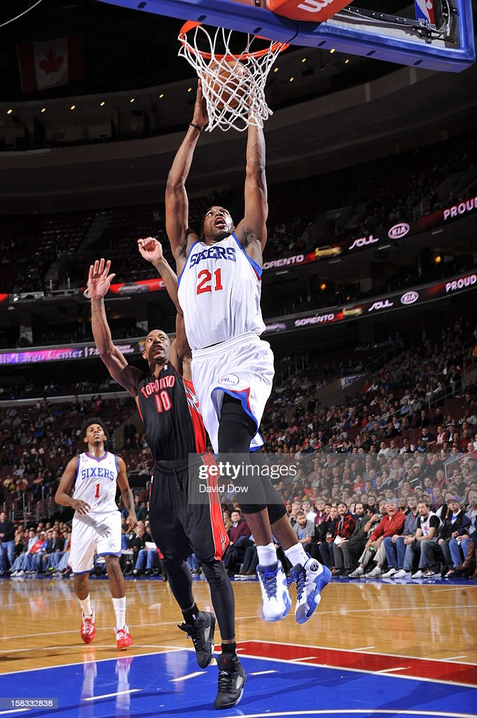 Thaddeus Young #21 of the Philadelphia 76ers dunks the ball against the Toronto Raptors at the Wells Fargo Center on November 20, 2012 in Philadelphia, Pennsylvania.