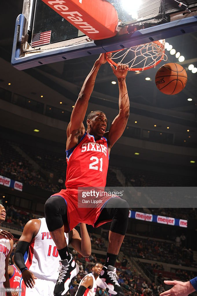 Thaddeus Young #21 of the Philadelphia 76ers dunks the ball during the game between the Detroit Pistons and the Philadelphia 76ers on April 15, 2013 at The Palace of Auburn Hills in Auburn Hills, Michigan.