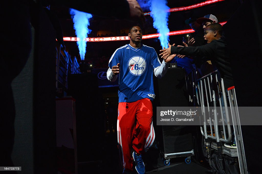 Thaddeus Young #21 of the Philadelphia 76ers enters the court against the Brooklyn Nets at the Wells Fargo Center on March 11, 2013 in Philadelphia, Pennsylvania.
