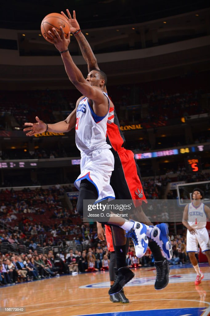 Thaddeus Young #21 of the Philadelphia 76ers goes to the basket against the Toronto Raptors during the game at the Wells Fargo Center on November 20, 2012 in Philadelphia, Pennsylvania.