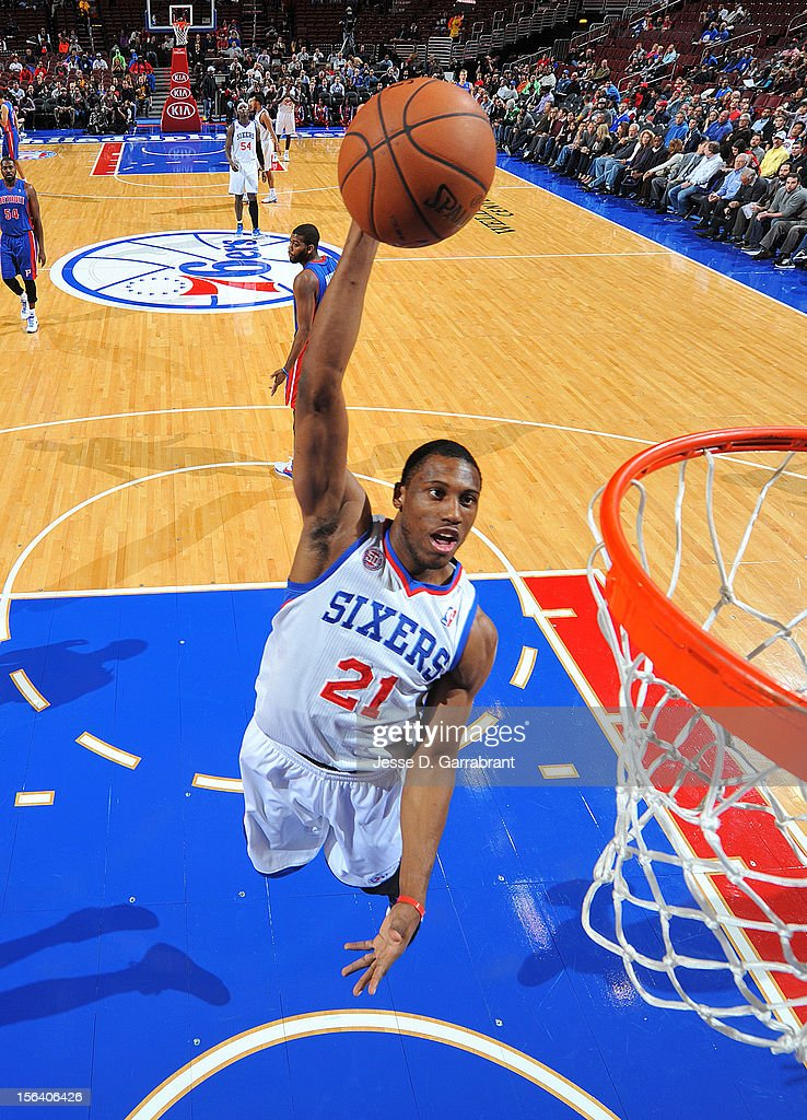 <a gi-track='captionPersonalityLinkClicked' href=/galleries/search?phrase=Thaddeus+Young&family=editorial&specificpeople=3847270 ng-click='$event.stopPropagation()'>Thaddeus Young</a> #21 of the Philadelphia 76ers goes to the basket during the game between Detroit Pistons and the Philadelphia 76ers at the Wells Fargo Center on November 14, 2012 in Philadelphia, Pennsylvania.