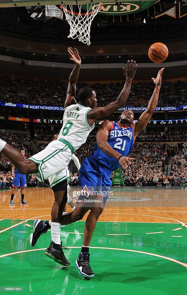 Thaddeus Young #21 of the Philadelphia 76ers goes up for a shot vs Jeff Green #8 of gthe Boston Celtics on November 9, 2012 at the TD Garden in Boston, Massachusetts.
