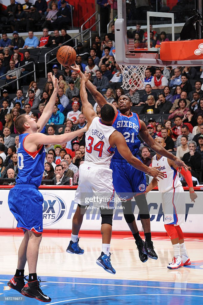 <a gi-track='captionPersonalityLinkClicked' href=/galleries/search?phrase=Thaddeus+Young&family=editorial&specificpeople=3847270 ng-click='$event.stopPropagation()'>Thaddeus Young</a> #21 of the Philadelphia 76ers grabs a rebound against the Los Angeles Clippers at Staples Center on March 20, 2013 in Los Angeles, California.