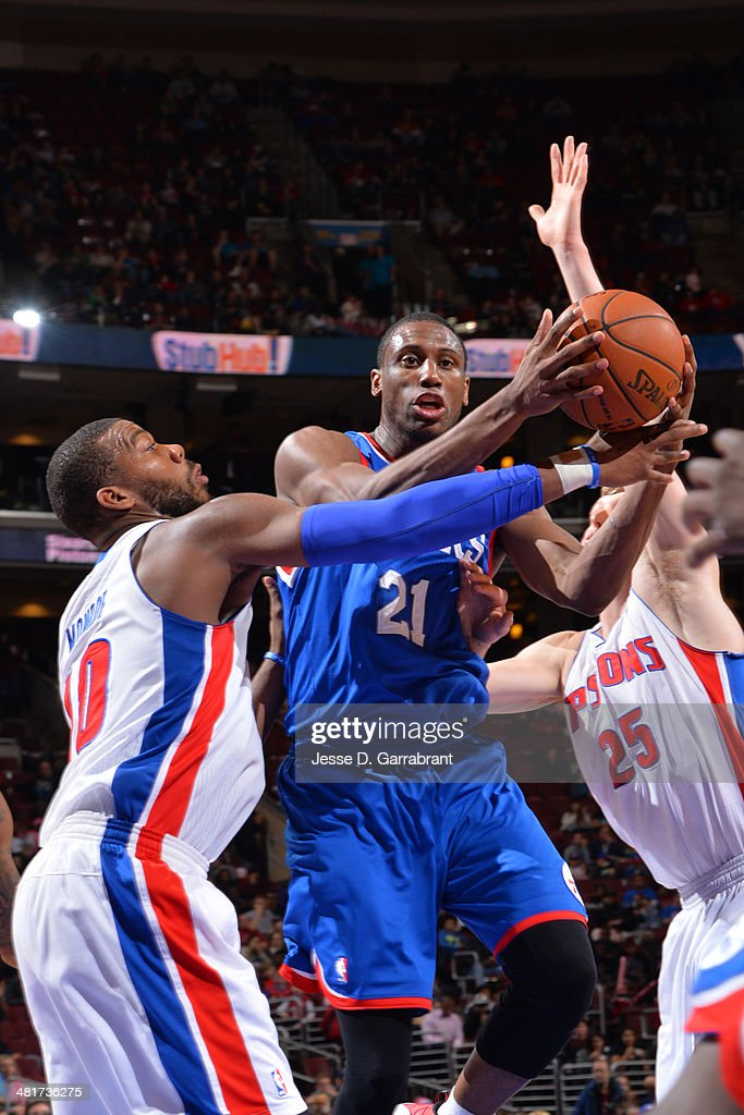 <a gi-track='captionPersonalityLinkClicked' href=/galleries/search?phrase=Thaddeus+Young&family=editorial&specificpeople=3847270 ng-click='$event.stopPropagation()'>Thaddeus Young</a> #21 of the Philadelphia 76ers handles the ball against the Detroit Pistons at the Wells Fargo Center on March 29, 2014 in Philadelphia, Pennsylvania.