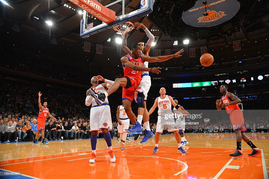 Thaddeus Young #21 of the Philadelphia 76ers kicks the ball out the New York Knicks on November 4, 2012 at Madison Square Garden in New York City.