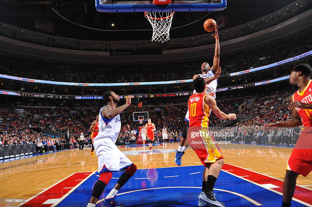 <a gi-track='captionPersonalityLinkClicked' href=/galleries/search?phrase=Thaddeus+Young&family=editorial&specificpeople=3847270 ng-click='$event.stopPropagation()'>Thaddeus Young</a> #21 of the Philadelphia 76ers puts up a shot against the Houston Rockets at the Wells Fargo Center on January 12, 2013 in Philadelphia, Pennsylvania.