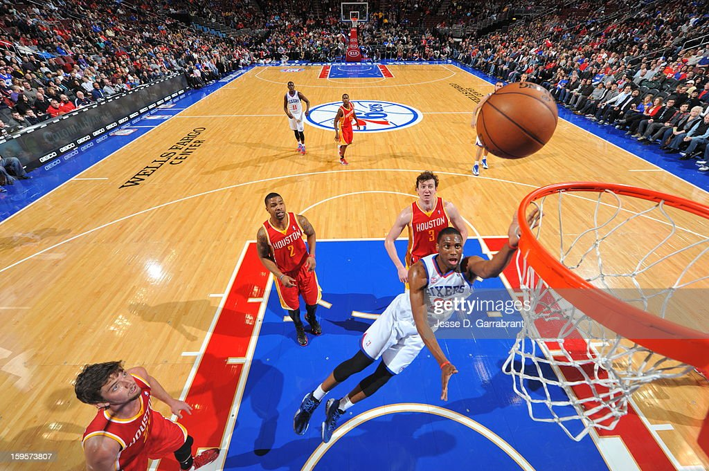 Thaddeus Young #21 of the Philadelphia 76ers puts up a shot against the Houston Rockets at the Wells Fargo Center on January 12, 2013 in Philadelphia, Pennsylvania.