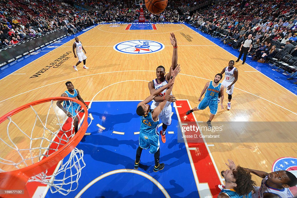 Thaddeus Young #21 of the Philadelphia 76ers puts up a shot against the New Orleans Hornets at the Wells Fargo Center on January 15, 2013 in Philadelphia, Pennsylvania.