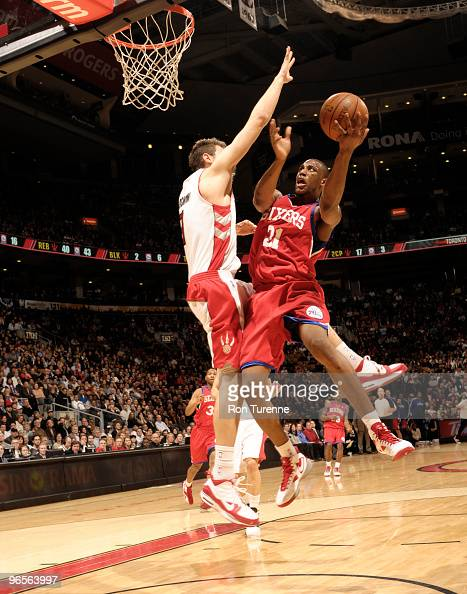 Thaddeus Young of the Philadelphia 76ers puts up the shot against Andrea Bargnani of the Toronto Raptors during a game on February 10 2010 at the Air...