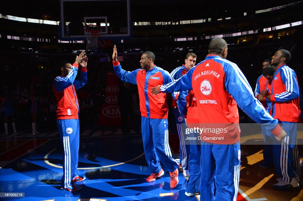 <a gi-track='captionPersonalityLinkClicked' href=/galleries/search?phrase=Thaddeus+Young&family=editorial&specificpeople=3847270 ng-click='$event.stopPropagation()'>Thaddeus Young</a> #21 of the Philadelphia 76ers runs out before the game against the Golden State Warriors at the Wells Fargo Center on November 4, 2013 in Philadelphia, Pennsylvania.