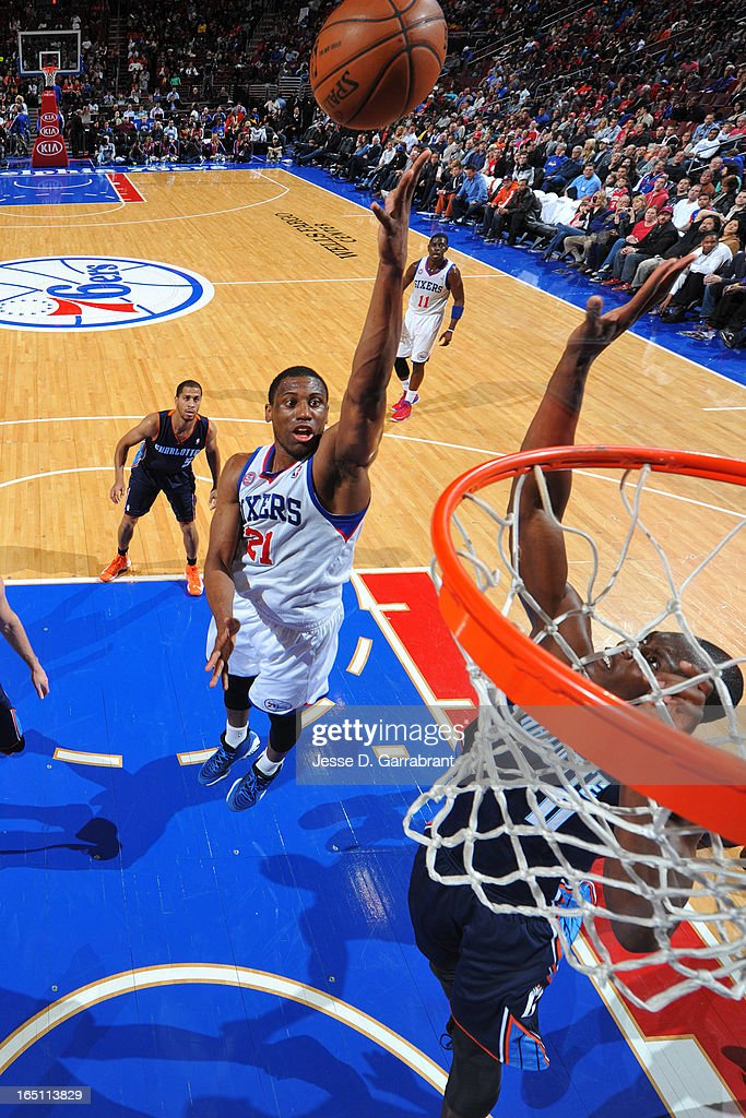 Thaddeus Young #21 of the Philadelphia 76ers shoots a layup against the Charlotte Bobcats at the Wells Fargo Center on March 30, 2013 in Philadelphia, Pennsylvania.