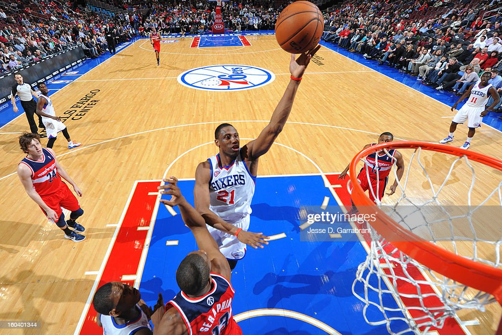 <a gi-track='captionPersonalityLinkClicked' href=/galleries/search?phrase=Thaddeus+Young&family=editorial&specificpeople=3847270 ng-click='$event.stopPropagation()'>Thaddeus Young</a> #21 of the Philadelphia 76ers shoots against the Washington Wizards at the Wells Fargo Center on January 30, 2013 in Philadelphia, Pennsylvania.