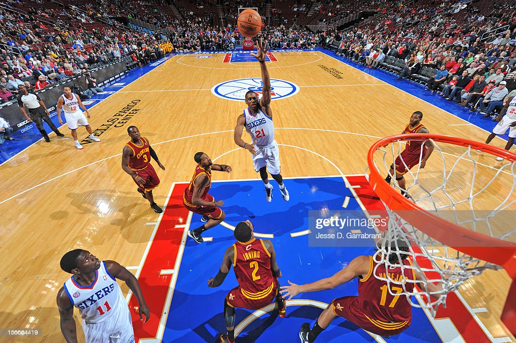 Thaddeus Young #21 of the Philadelphia 76ers shoots the ball against the Cleveland Cavaliers at the Wells Fargo Center on November 18, 2012 in Philadelphia, Pennsylvania.