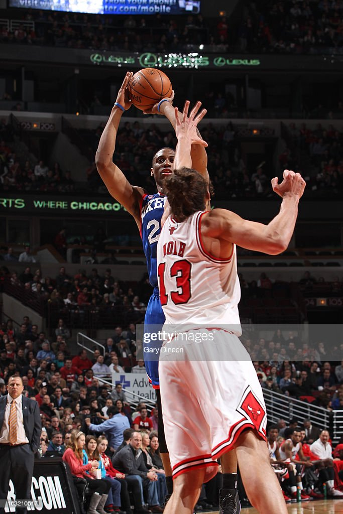 <a gi-track='captionPersonalityLinkClicked' href=/galleries/search?phrase=Thaddeus+Young&family=editorial&specificpeople=3847270 ng-click='$event.stopPropagation()'>Thaddeus Young</a> #21 of the Philadelphia 76ers takes a shot against the Chicago Bulls on February 28, 2013 at the United Center in Chicago, Illinois.