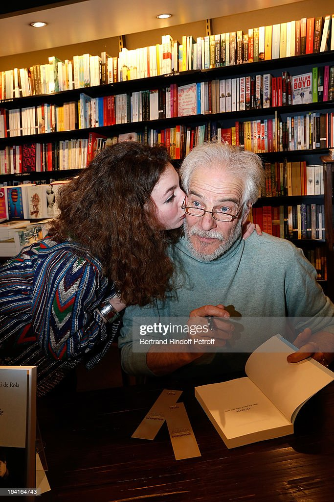 Thadee Klossowski De Rola and his daughter Anna Klossowska De Rola attend the book signing of 'Dream Life' (Vie Revee) by Thadee Klossowski De Rola at Galignani Bookstore in Paris, France on March 20, 2013.