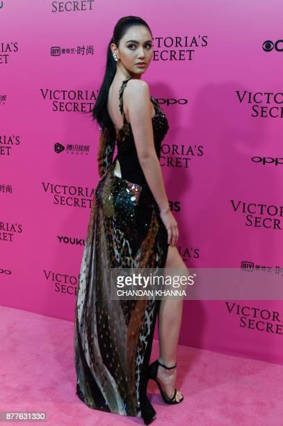 Thai actress and model Davika Hoorne arrives on the 'Pink Carpet' ahead of the start of the 2017 Victoria's Secret Fashion Show in Shanghai on...