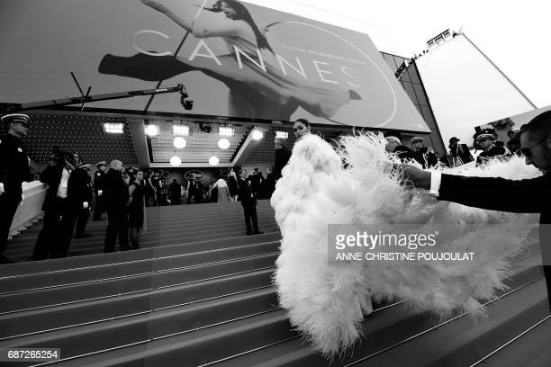 Thai actress Araya Alberta Hargate known as Chompoo poses as she arrives on May 17 2017 for the screening of the film 'Ismael's Ghosts' during the...