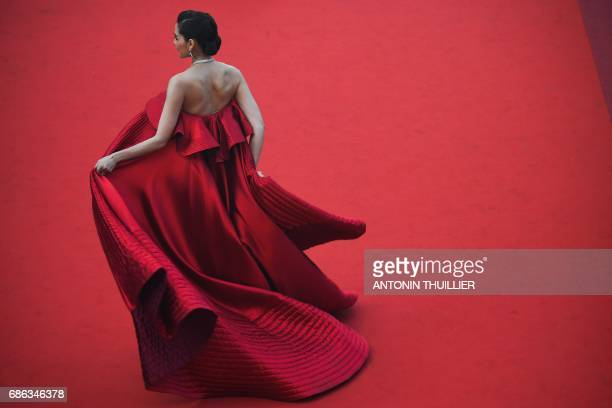 TOPSHOT Thai actress Araya Hargate poses as she arrives on May 21 2017 for the screening of the film 'The Meyerowitz Stories ' at the 70th edition of...