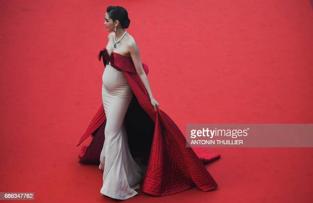 Thai actress Araya Hargate poses as she arrives on May 21 2017 for the screening of the film 'The Meyerowitz Stories ' at the 70th edition of the...