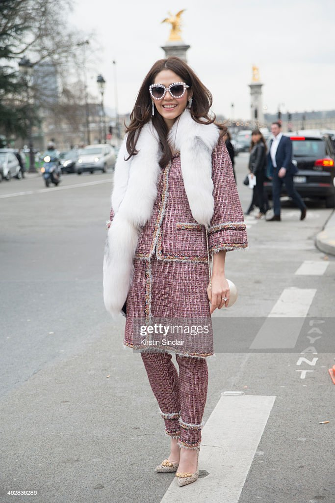 Thai Actress Araya Hargate wears all Chanel on day 3 of Paris Haute Couture Fashion Week Spring/Summer 2015 on January 27 2015 in Paris France