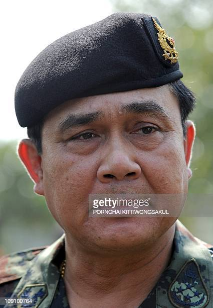Thai Army chief General Prayuth Chanocha visits troops and get a briefing on border situation at military base at Kantharalak district of Si Sa Ket...