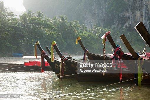Thai boats moored in ocean : Stock Photo