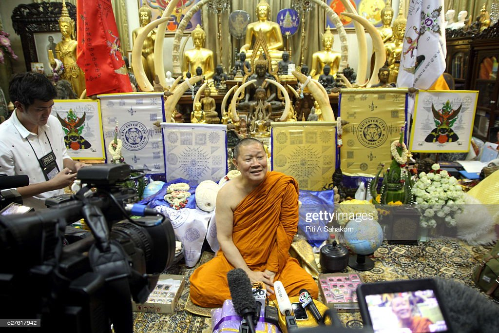 Thai Buddhist monk Phra Prommangkalachan speaks to members of the media at Wat Traimit temple in Bangkok. The Thai Buddhist monk became famous and well known as a magic monk as he is credited to be a part of Leicester City's success after he traveled several times to King Power Stadium in England.