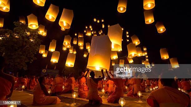 Thai Buddhist Monks float lanterns