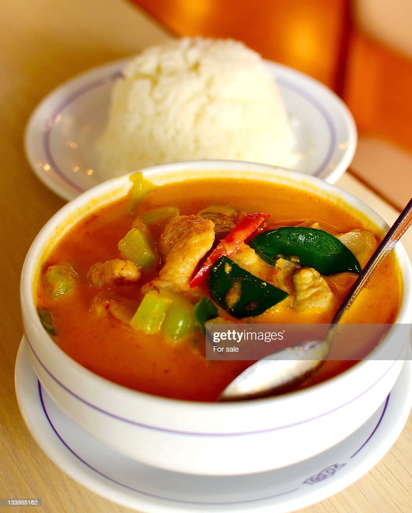 Thai catfish and pstanoy curry : Stock Photo