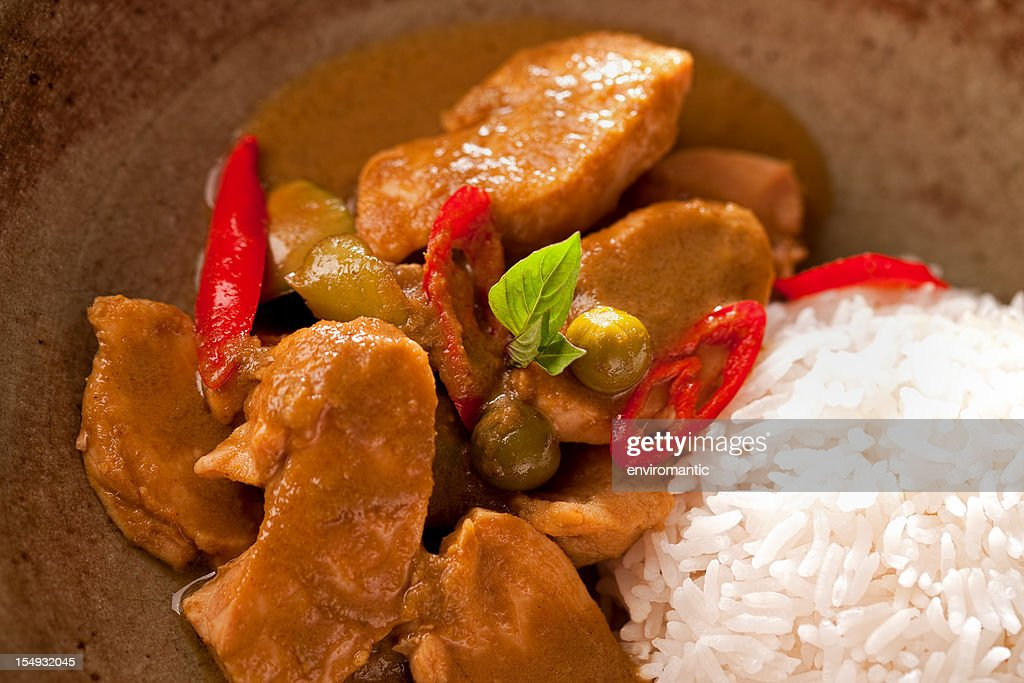 Thai Chicken Curry With Rice In A Bowl Stock Photo | Getty Images
