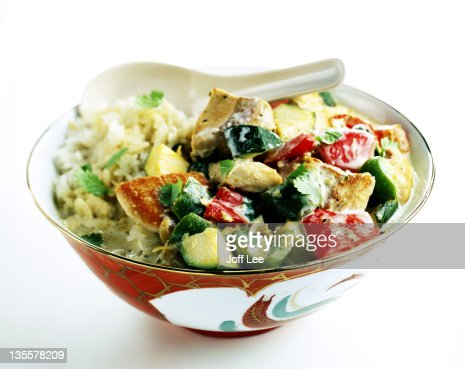 Thai chicken curry with rice : Stock Photo