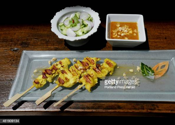 Thai Chicken Satay as prepared by Watcharee Limanon of the Thai Culinary Arts Studio in Yarmouth Friday June 27 2014