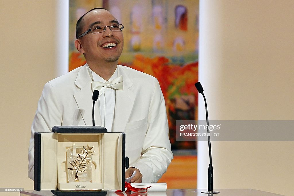 Thai director Apichatpong Weerasethakul poses after receiving the Palm d�Or award for his film 'Lung Boonmee Raluek Chat' (Uncle Boonmee Who Can Recall His Past Lives) during the closing ceremony at the 63rd Cannes Film Festival on May 23, 2010 in Cannes.