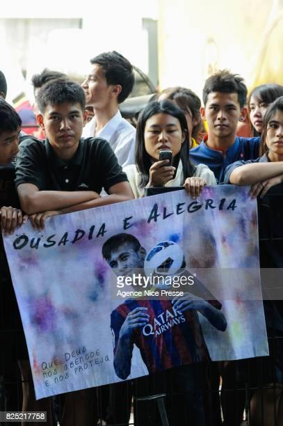 Thai fans of Neymar during the FC Barcelona Asia Tour on June 8 2013 in Bangkok Thailand
