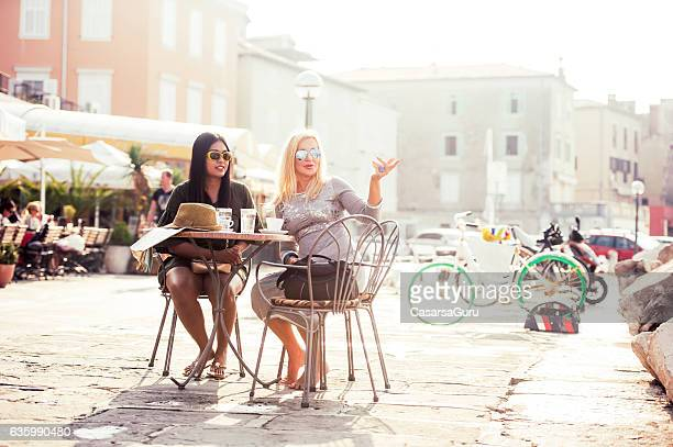 Thai Girl and Russian Woman Enjoying Summer Afternoon in Piran