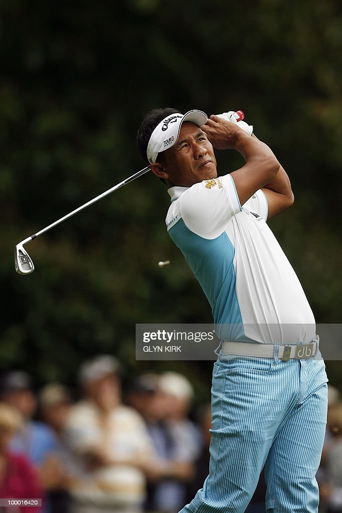 Thai golfer Thongchai Jaidee watches his drive from the 2nd tee during the first day of the PGA Championship on the West Course at Wentworth, England, on May 20, 2010.