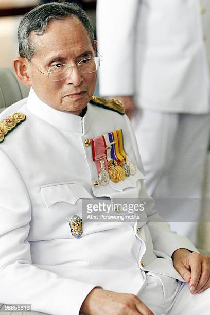Thai King Bhumibol Adulyadej arrives at Siriraj Hospital after he marks the 60th anniversary of his coronation at the Grand Palace on May 5 2010 in...