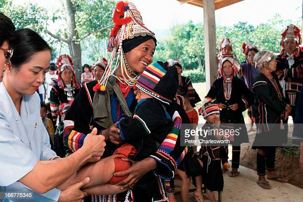 Thai medical team vaccinates Akha hilltribe villagers in the small border town close to the northernmost point in Thailand Mae Sai This vaccination...