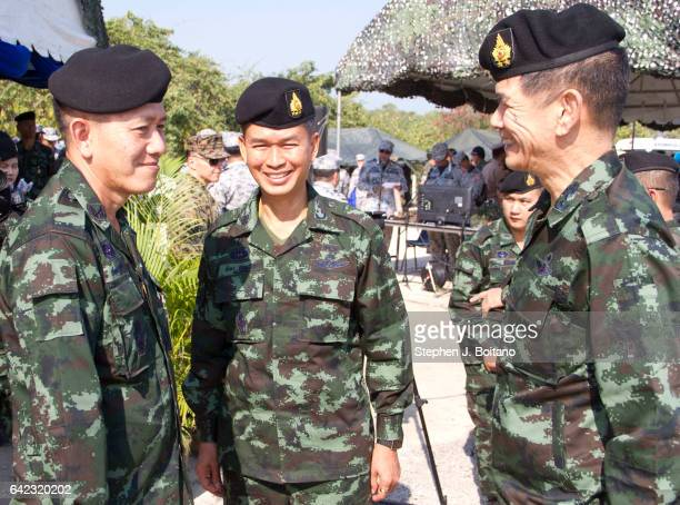 SATTAHIP CHONBURI THAILAND Thai military speak before the ongoing USThai joint military exercise titled 'Cobra Gold' on Hat Yao beach in Chonburi...