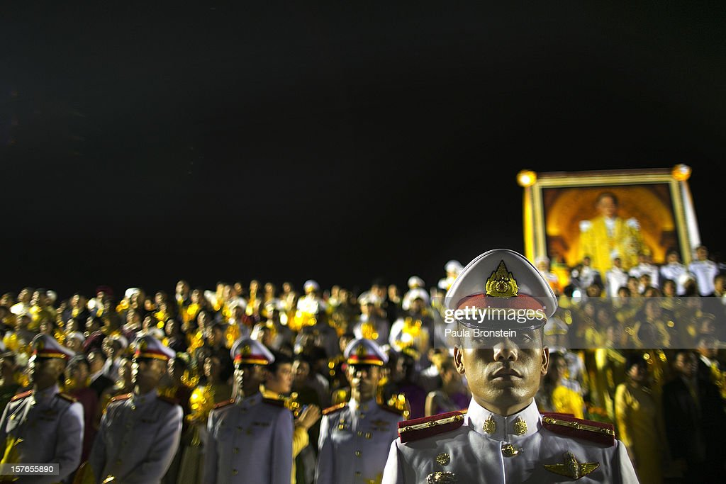 Thai military stand guard during celebrations to pay respect to Thailand's King Bhumibol Adulyadej on his 85th birthday December 5, 2012 in Bangkok, Thailand. King Bhumibol took the throne in 1946, making him the world's longest reigning monarch and the world's longest serving head of state. Yellow represents Monday, the birthday of the King.