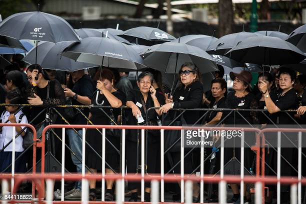 Thai mourners gather at the ceremonial ground for King Bhumibol Adulyadej at Sanam Luang park in Bangkok Thailand on Friday Sept 8 2017 The Kingdom...