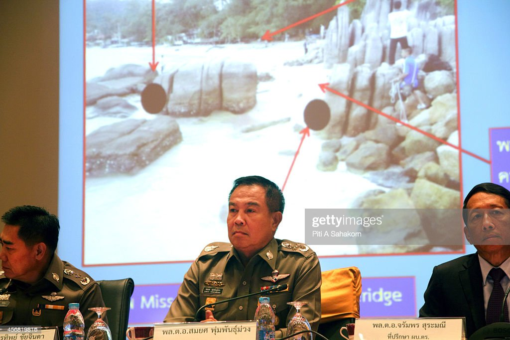 Thai National Police chief Pol Gen Somyot Poompanmoung during the press conference about the two British tourists murdered on Koh Tao at the Royal...